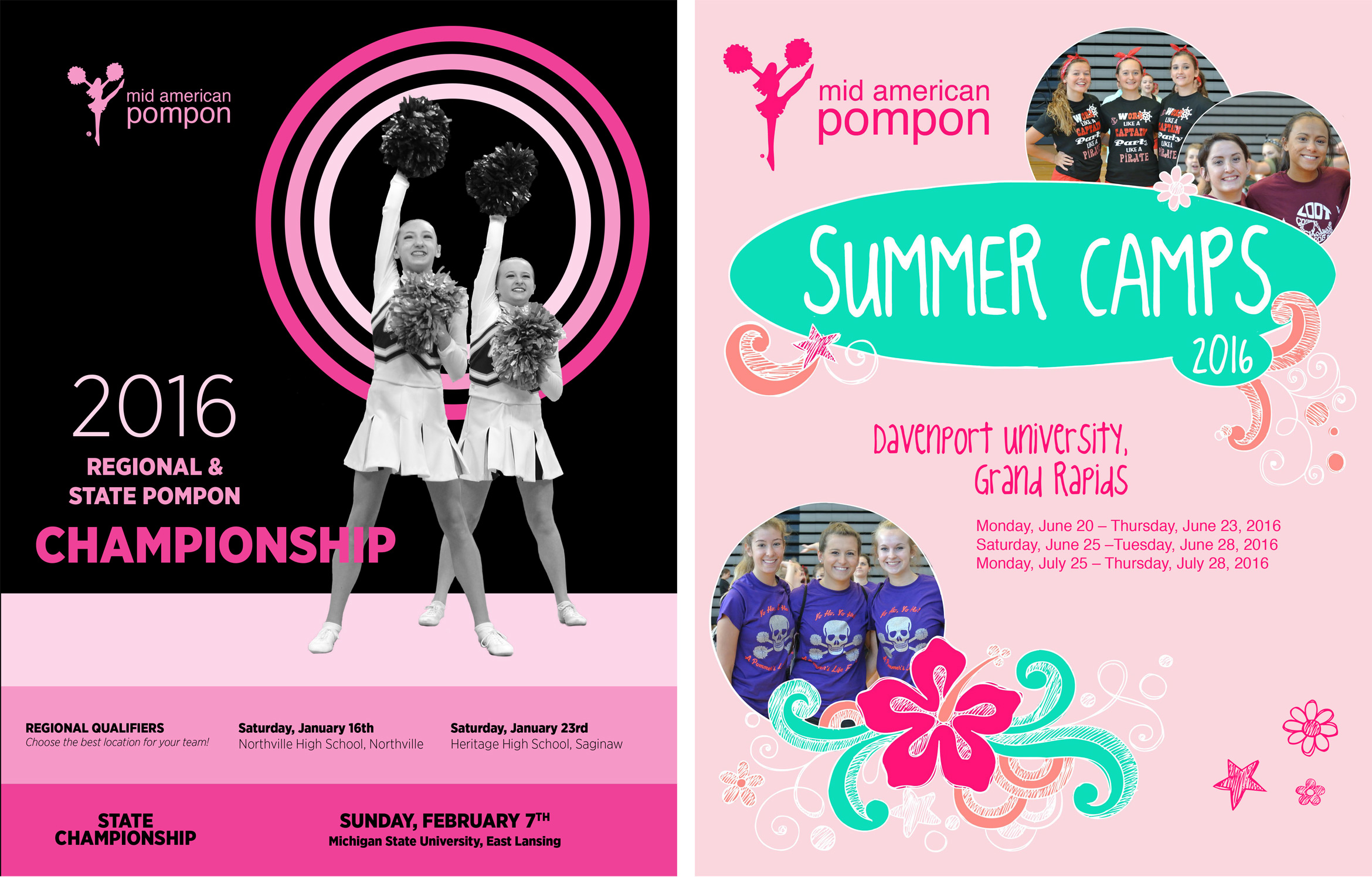 Mid American Pompon Event brochure covers