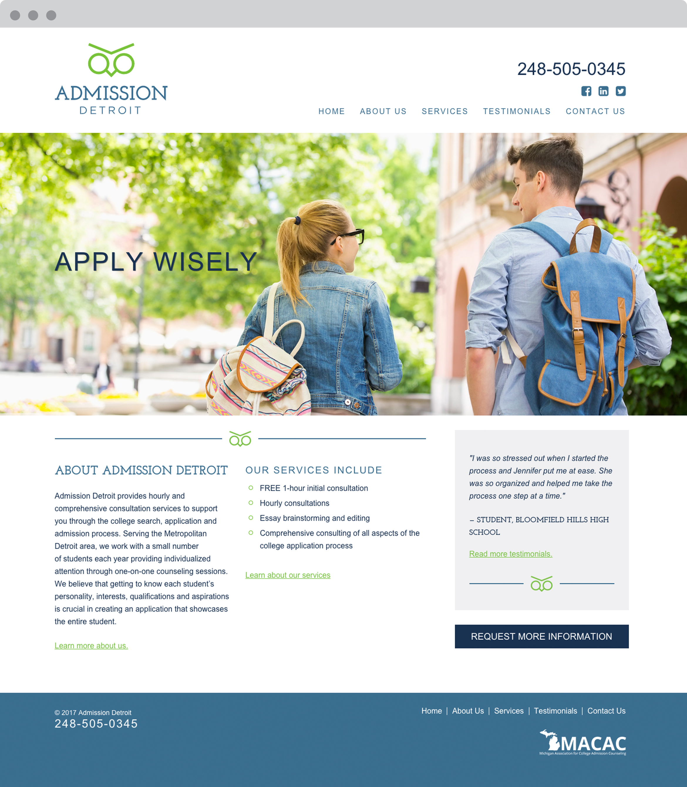 Admission Detroit Mobile Friendly Responsive Website