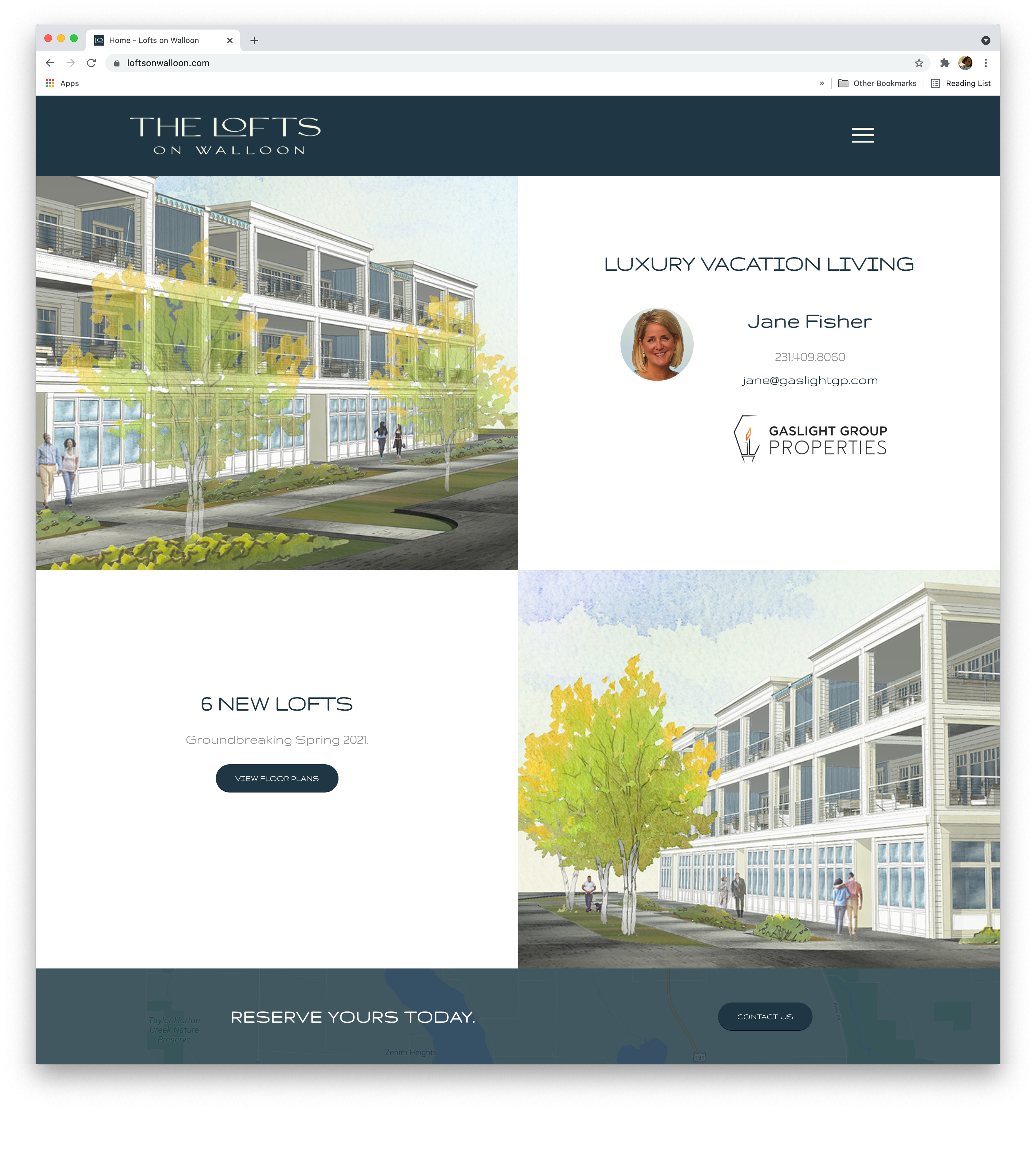 Website Design and development for Lofts on Walloon Lake